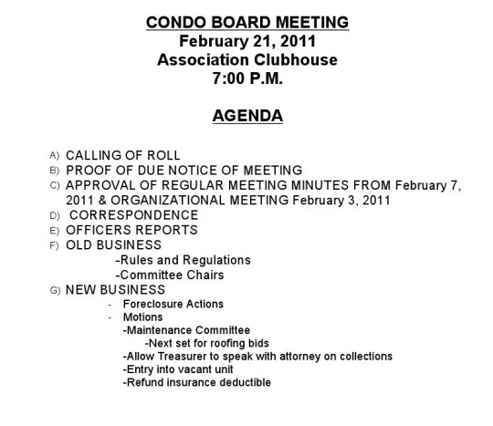 The laws governing condominium association meetings and for Notice of board meeting template